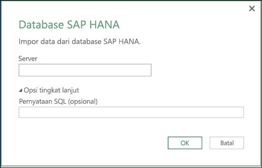 Dialog Impor database Excel Power BI SAP HANA