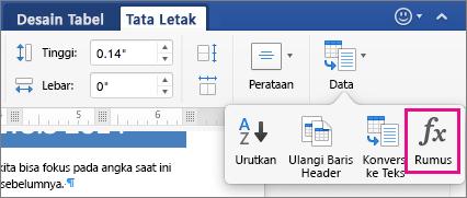 Pada tab Tata Letak, klik Data untuk menampilkan menu dan klik Rumus.