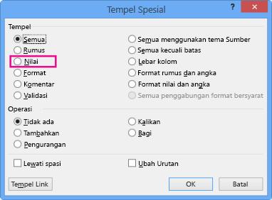 Opsi nilai di kotak dialog Tempel Spesial