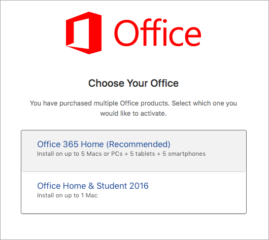 Memilih tipe lisensi Office 2016 untuk Mac