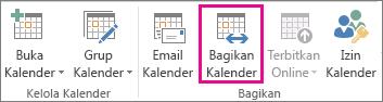 Tombol Bagikan Kalender di tab Beranda Outlook 2013