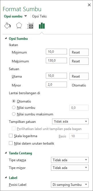 Panel opsi Format sumbu