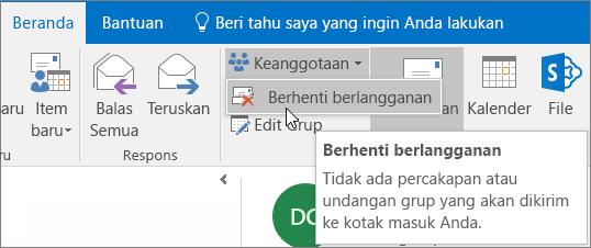 Pengguna dapat berhenti berlangganan dari grup dan tidak lagi menerima email di kotak masuk mereka.