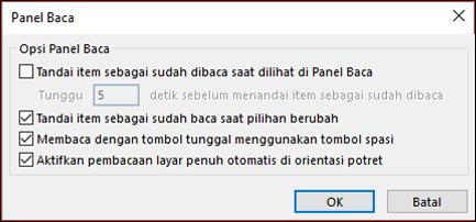 Anda bisa mengubah opsi panel baca.