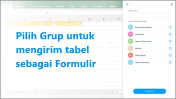 Cuplikan layar: Selecta grup untuk mengirim tabel