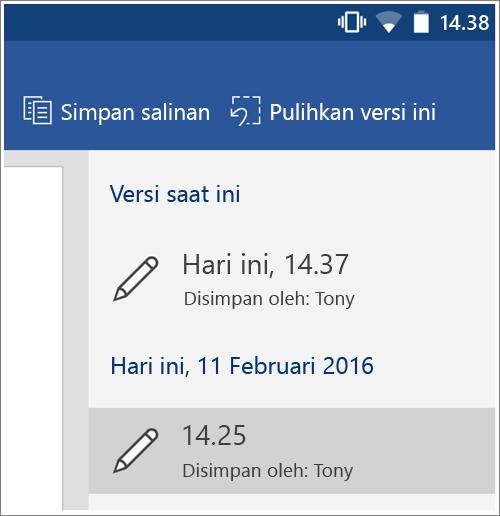 Cuplikan layar opsi Riwayat untuk memulihkan versi sebelumnya di Android.