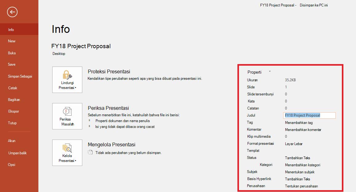 Properti Dokumen Office - File > Panel Info