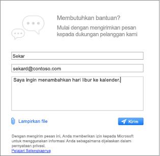 Kotak dialog dukungan tempat Anda bisa memasukkan pesan dan melampirkan gambar kontak