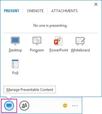 Cuplikan layar tab Sajikan yang menunjukkan mode penyajian Desktop, Program, PowerPoint, Papan Tulis, dan Polling