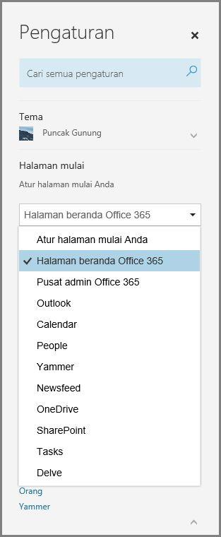 Mengubah halaman awal Office 365 Anda