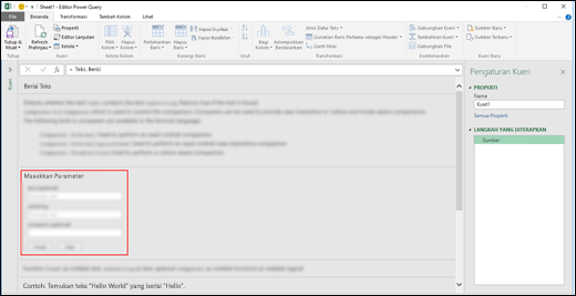 Kontrol Input inline Excel Power BI untuk Invokasi fungsi dalam Editor Kueri