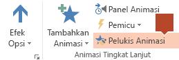 Pelukis Animasi tersedia di pita toolbar Animasi saat objek yang dianimasikan dipilih pada slide