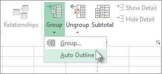 Klik panah di bawah Grup, lalu klik Kerangka Otomatis