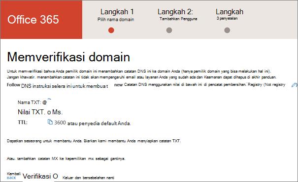 Verifikasi domain Anda