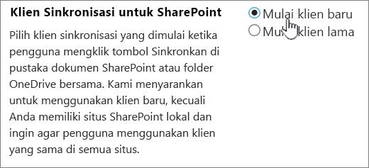 Pengaturan admin untuk klien sinkronisasi OneDrive