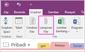 Cuplikan layar tombol Sisipkan Kliping Layar di OneNote 2016.