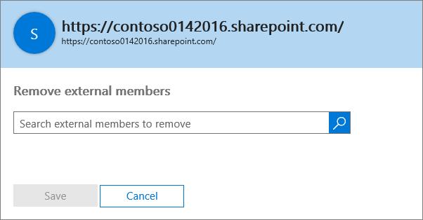 Kotak dialog untuk menghapus anggota eksternal dari kumpulan situs