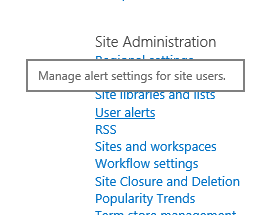 Link pemberitahuan pengguna pengaturan situs administrasi situs