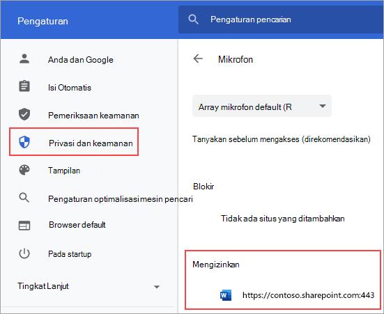 Halaman pengaturan izin mikrofon untuk Chrome