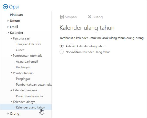 Cuplikan layar menu kalender lonjakan di pengaturan