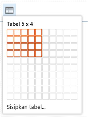 Menambahkan tabel sederhana di Outlook di web.