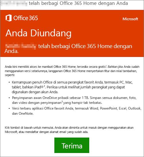 Email yang memberitahukan seseorang telah berbagi Office 365 Home dengan Anda