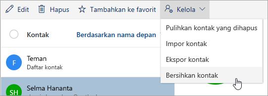 Cuplikan layar Clean kontak pilihan di menu Kelola