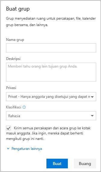 Membuat panel grup dengan seluruh informasi yang telah diisi