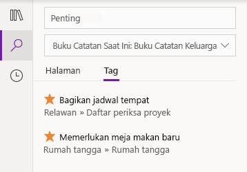 Tag hasil pencarian di OneNote untuk Windows 10