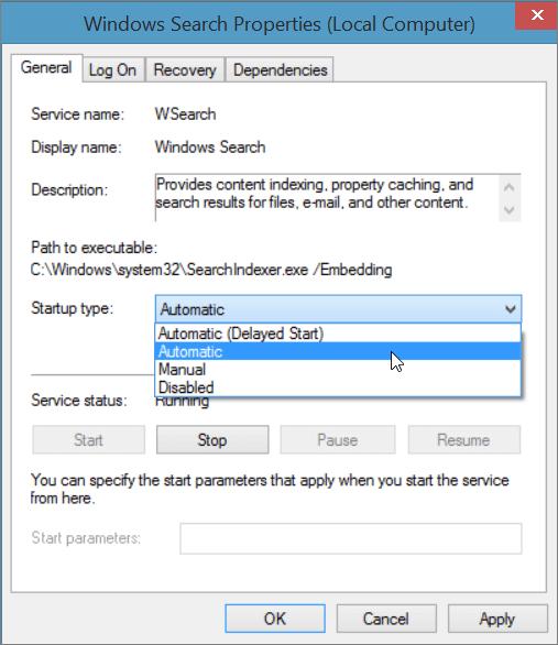 Cuplikan layar dialog properti pencarian Windows memperlihatkan pengaturan otomatis dipilih untuk tipe Startup.