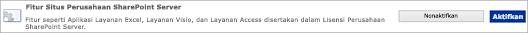 Mengaktifkan fitur situs SharePoint Server Enterprise
