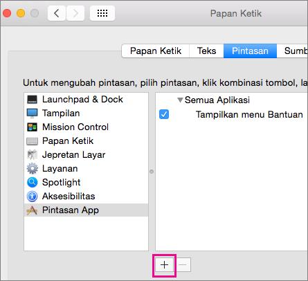 Pintasan keyboard kustom Office 2016 untuk Mac