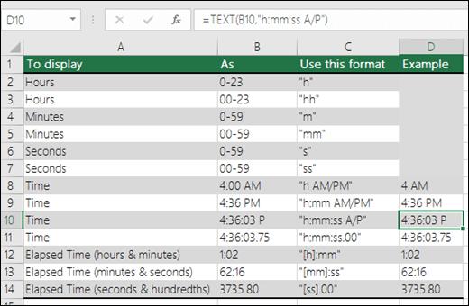 Contoh pemformatan jam, menit, dan detik dengan fungsi TEXT
