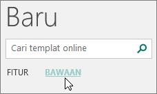 Cuplikan layar kategori templat bawaan di Publisher.