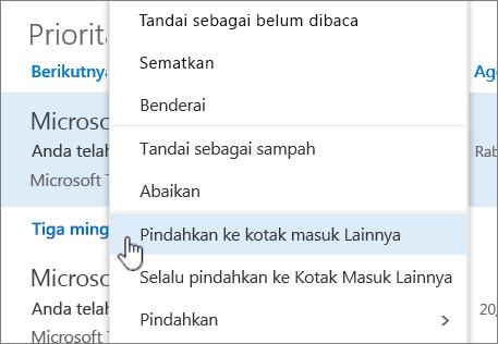 Cuplikan layar Kotak Masuk dengan Filter > Perlihatkan Kotak Masuk Prioritas dipilih.