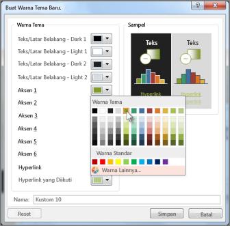 Mengubah warna tema
