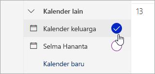 Cuplikan layar kalender keluarga di panel kiri