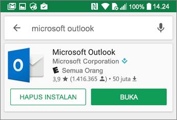 Ketuk Buka untuk membuka aplikasi Outlook
