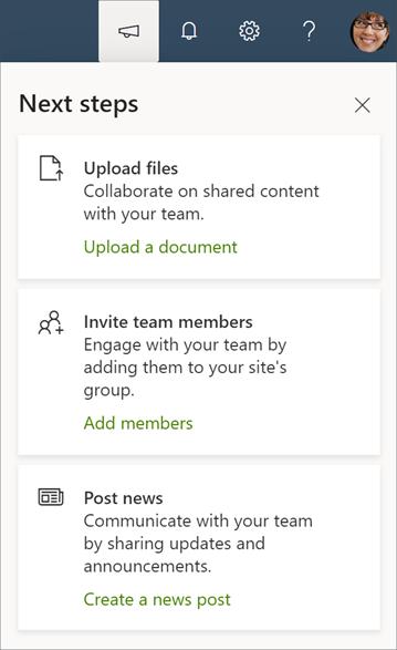 Gambar panel langkah berikutnya untuk situs tim yang dikelompokkan untuk O365