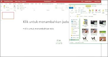 Presentasi kosong dan jendela file Explorer dengan gambar