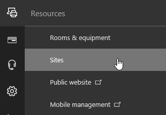 Menu sumber daya di pusat admin Office 365 dengan Situs yang dipilih