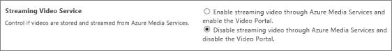 Menonaktifkan pengaturan Office 365 Video di pusat admin SharePoint Online
