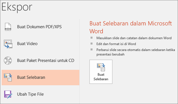 Klip layar antarmuka pengguna PowerPoint memperlihatkan File > ekspor > buat handout.