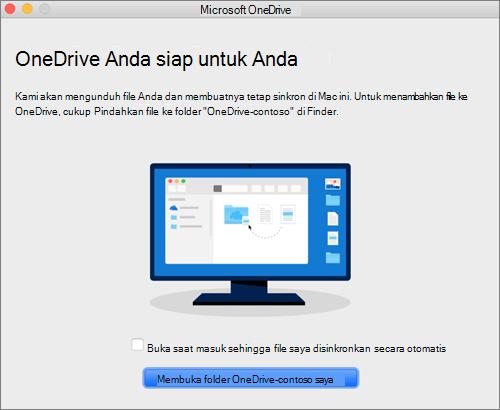 Tangkapan layar dari layar terakhir panduan Selamat Datang di OneDrive pada Mac