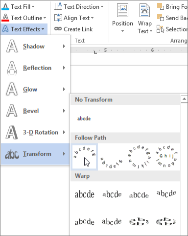 Memilih efek teks transformasi melengkung