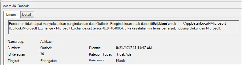 Peringatan Log Aktivitas Outlook