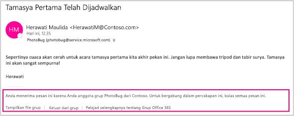 Semua email yang diterima oleh tamu dari anggota grup akan memiliki footer dengan instruksi dan tautan