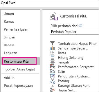 Klik File > Opsi > Kustomisasi pita