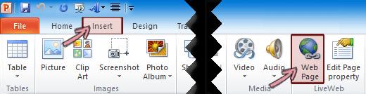 LiveWeb add-in ditemukan pada tab Sisipkan di pita, di ujung kanan
