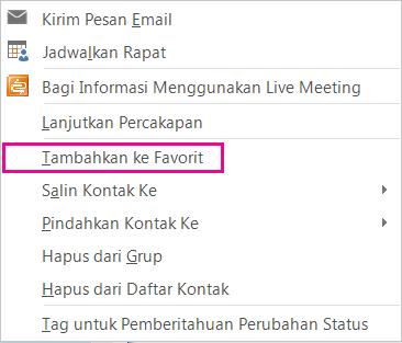 Cuplikan layar daftar turun bawah dengan Tambahkan ke favorit disorot